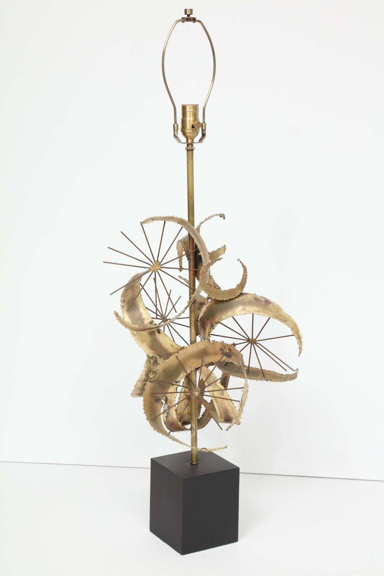 Bijan for Laurel Brutalist Brass Lamps For Sale 2