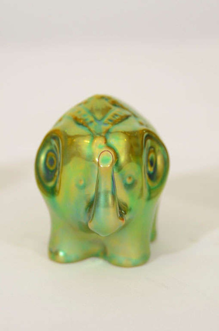 Glazed Trio of Zsolnay Iridescent Figures For Sale
