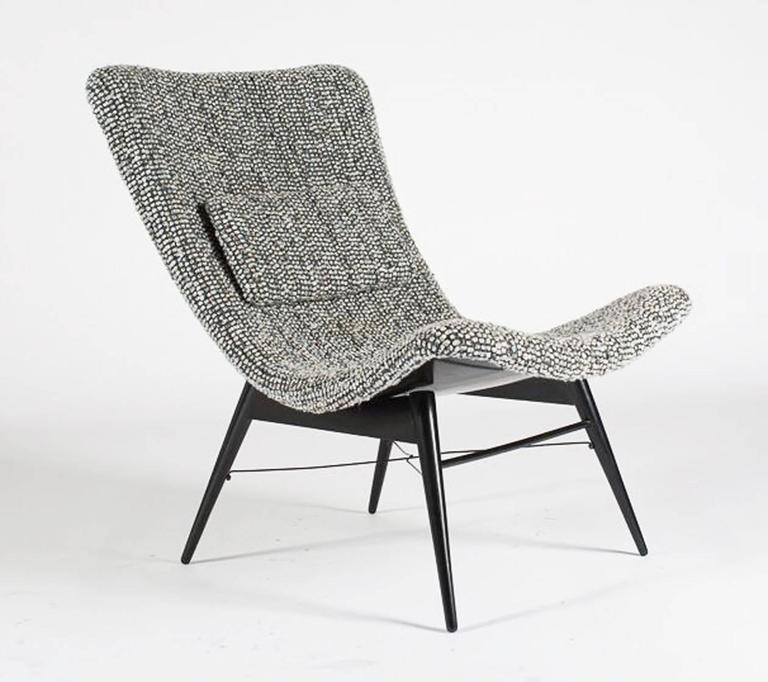 Easy chair by Miroslav Navratil, manufactured in Czech by Cesky Nabytek,  1959. Black