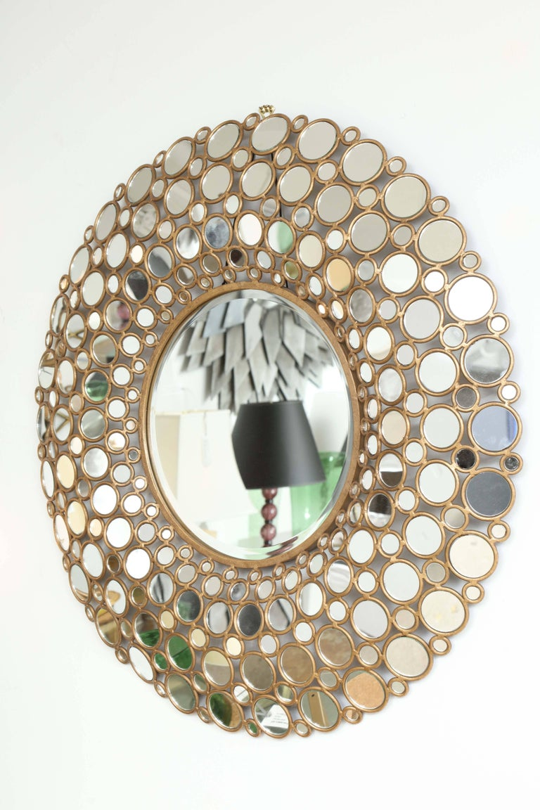 20th Century Large Gilt Metal Mirror For Sale
