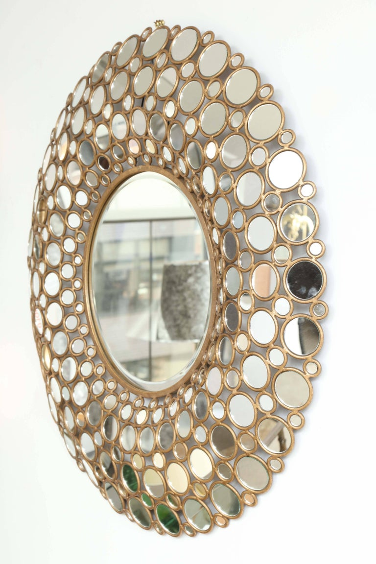 Large Gilt Metal Mirror For Sale 1
