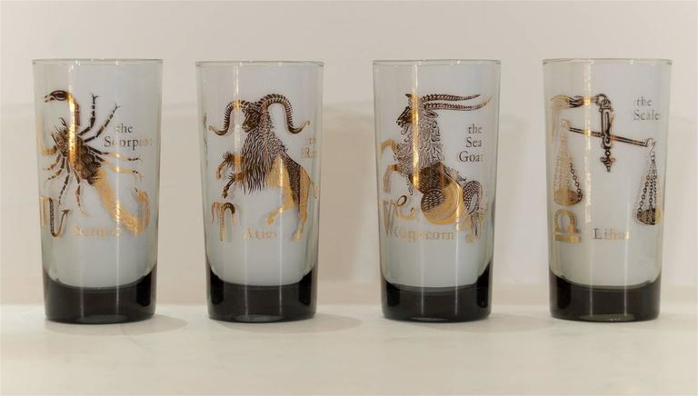 Complete Set of Federal Glass Zodiac Tumblers 5