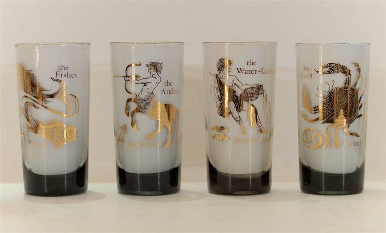 Complete Set of Federal Glass Zodiac Tumblers 6