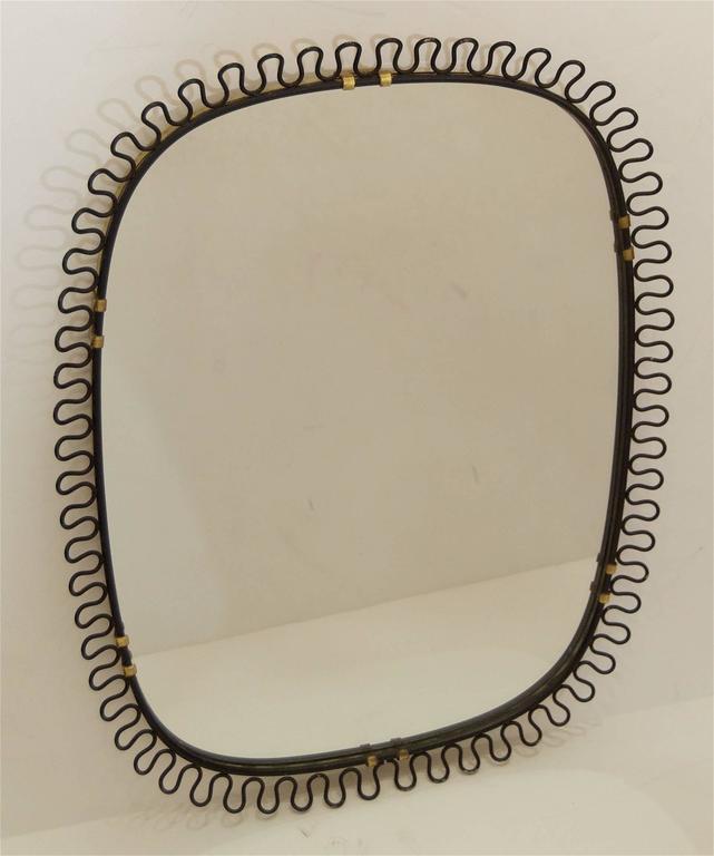 Josef Frank Style Brass and Black Enamel Mirror 3