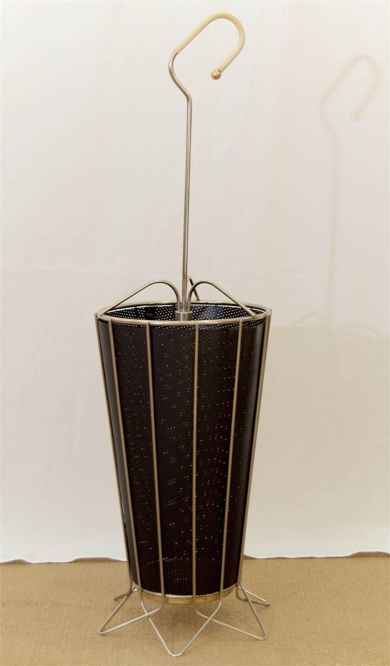 Steel Wire For Umbrella : Mid century metal umbrella stand with perforated liner for