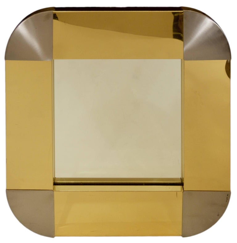 Curtis Jere Brass Framed Round Mirror For Sale at 1stdibs