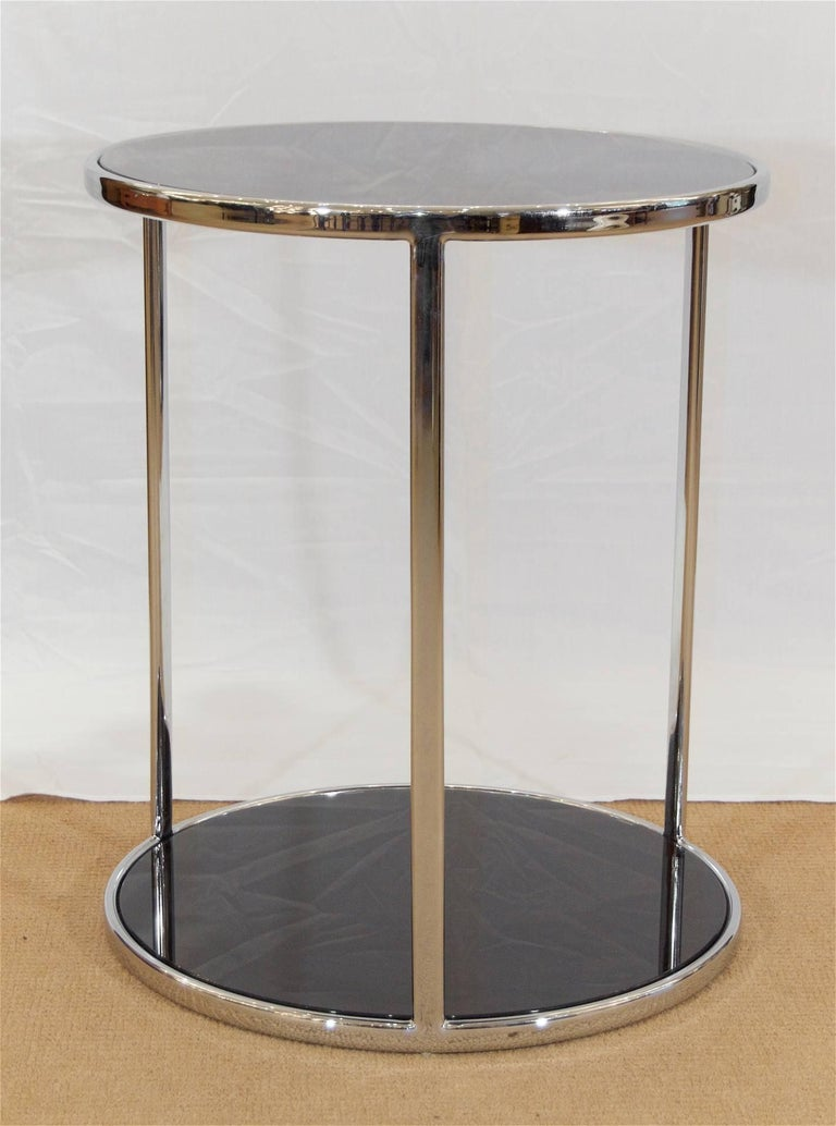 Mid-Century Modern Chrome and Black Glass Side Table For Sale