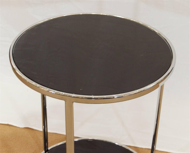 American Chrome and Black Glass Side Table For Sale
