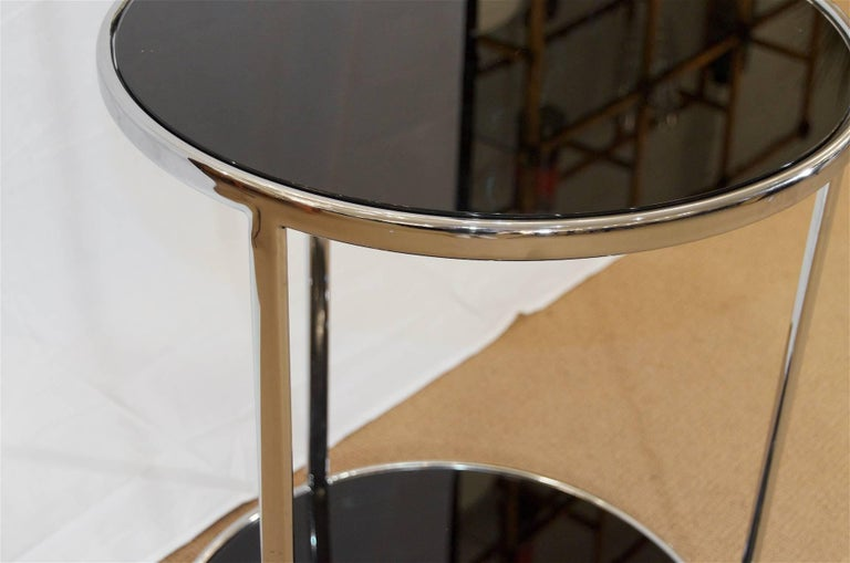 Chrome and Black Glass Side Table For Sale 1