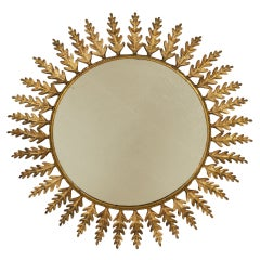 Huge Metal Round Leafed Sunburst Mirror