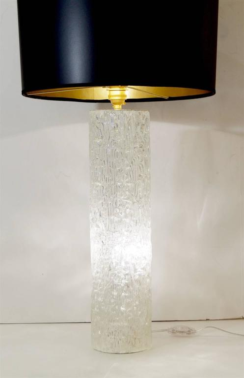 Cylindrical Glass Table Lamp With Interior Lighting For