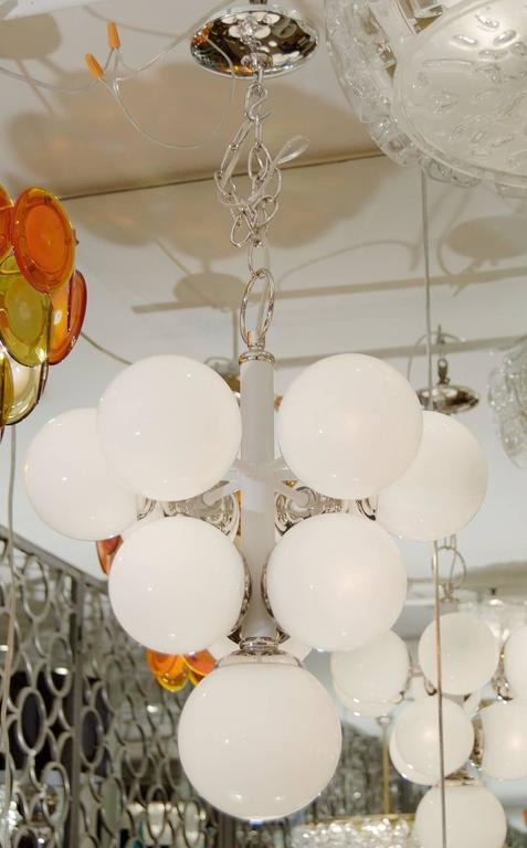 White Enameled Pyramid Chandelier with Gloss Opal Globes 2