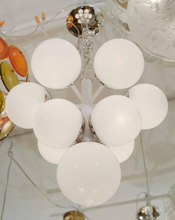 White Enameled Pyramid Chandelier with Gloss Opal Globes 3