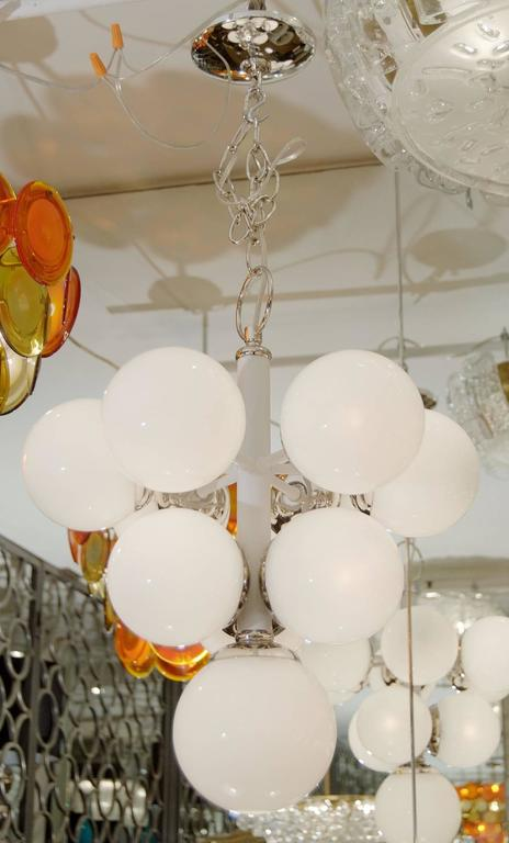 White Enameled Pyramid Chandelier with Gloss Opal Globes 5