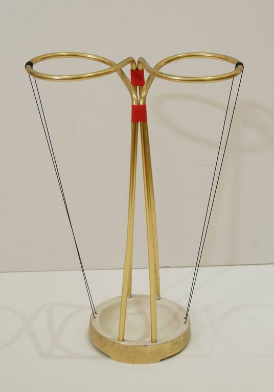 Gilt and Enameled Brass Cord-Wrapped Umbrella Stand 3