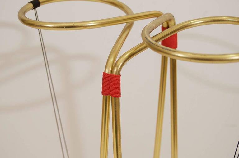 Gilt and Enameled Brass Cord-Wrapped Umbrella Stand 4