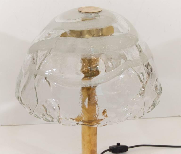 Brass Kalmar Table Lamp with Massive Glass Shade For Sale