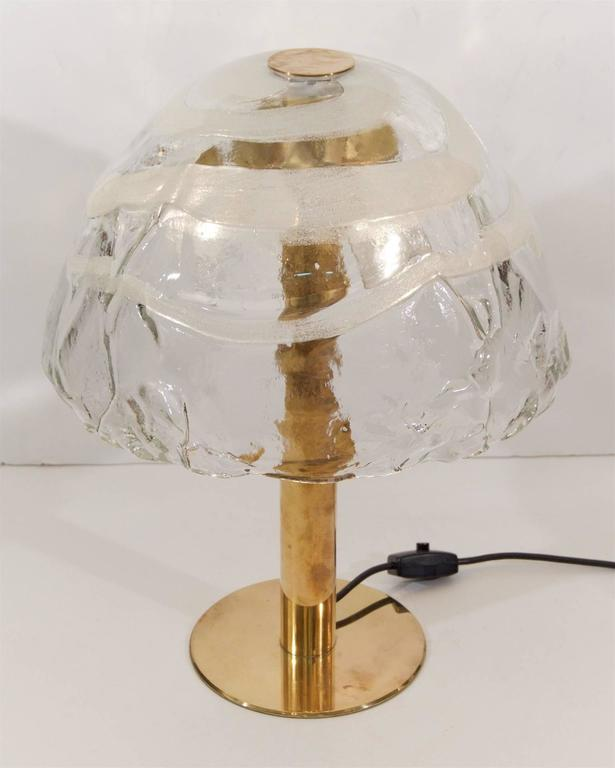 Mid-Century Modern Kalmar Table Lamp with Massive Glass Shade For Sale