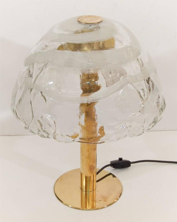 Mid-20th Century Kalmar Table Lamp with Massive Glass Shade For Sale