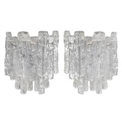 Grand Kalmar Ice Glass Sconces on Nickel Tone Backplates