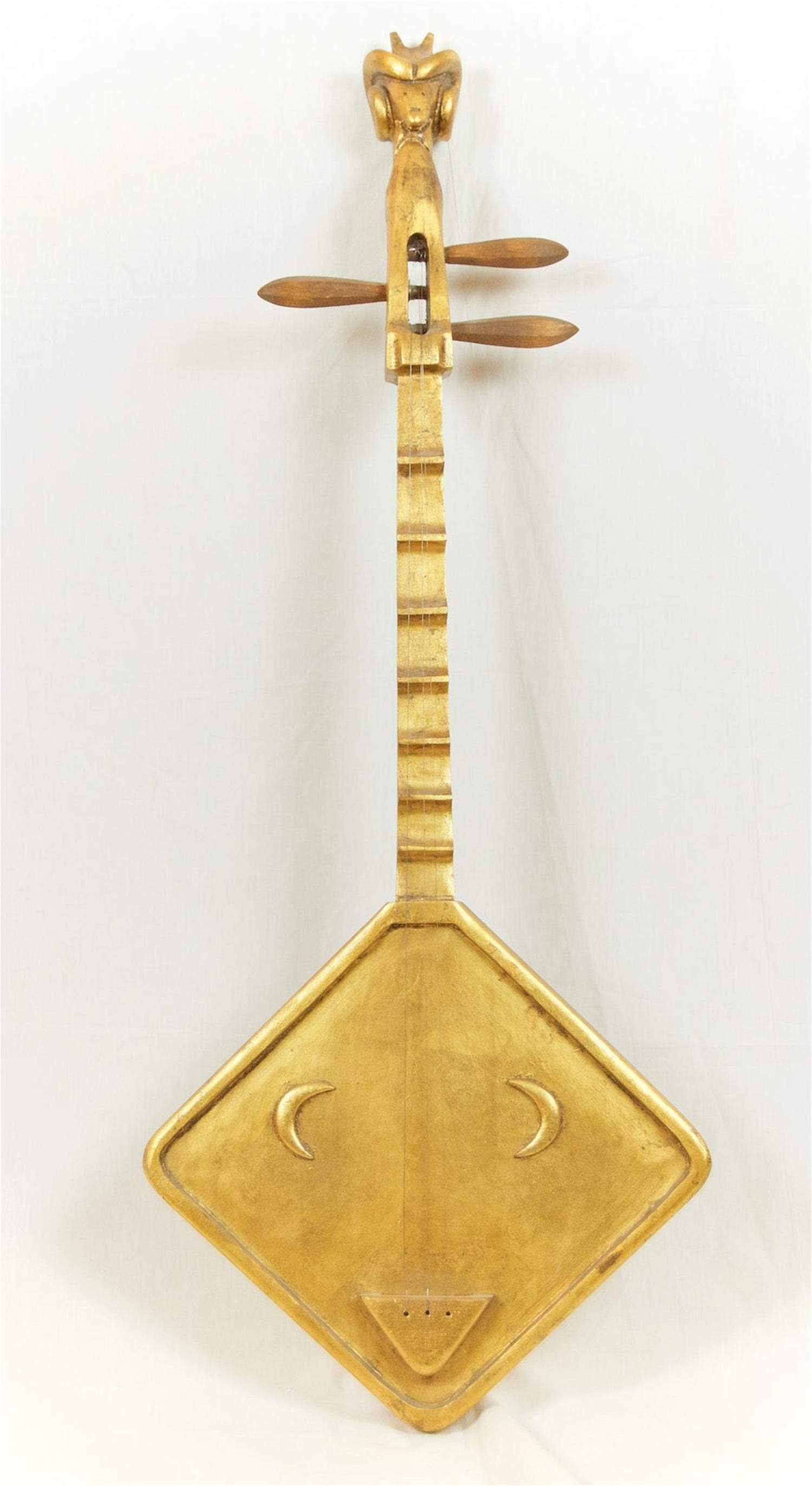 Gilt Decorative String Instrument Wall Hanging For Sale at 1stdibs
