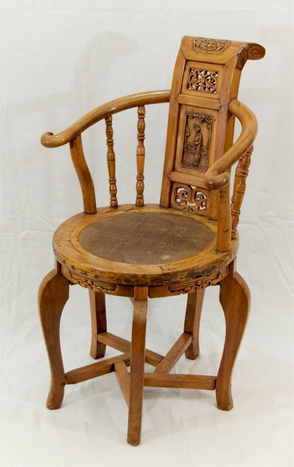 Petite Japanese Occasional Chair With Detailed Carvings At 1stdibs