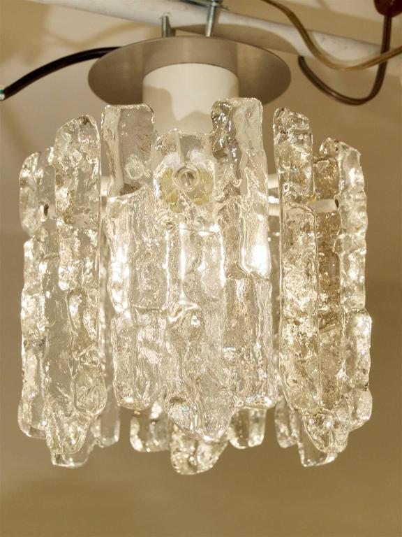 Mid-Century Modern Petite Kalmar Ice Glass Flush Mounted Pendant For Sale