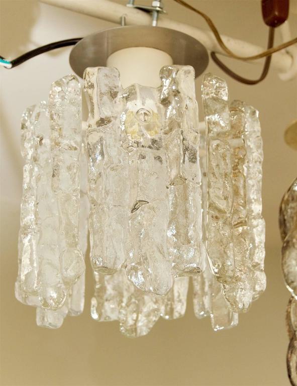 Mid-20th Century Petite Kalmar Ice Glass Flush Mounted Pendant For Sale