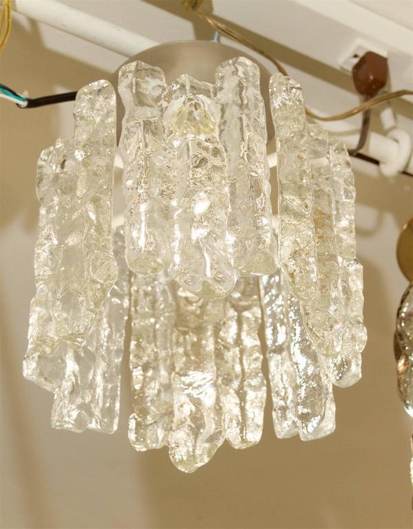 Austrian Petite Kalmar Ice Glass Flush Mounted Pendant For Sale