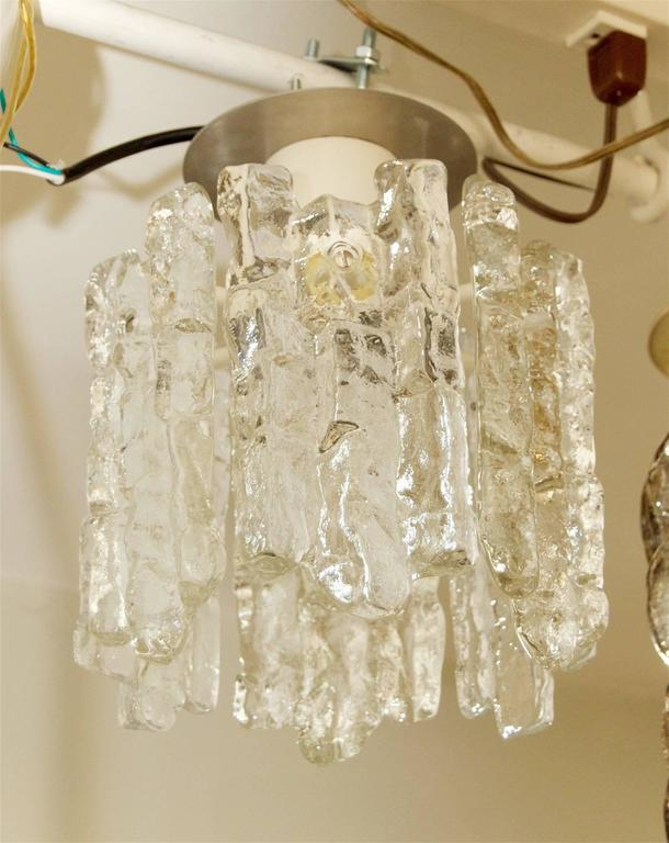 Petite Kalmar Ice Glass Flush Mounted Pendant In Excellent Condition For Sale In New York, NY