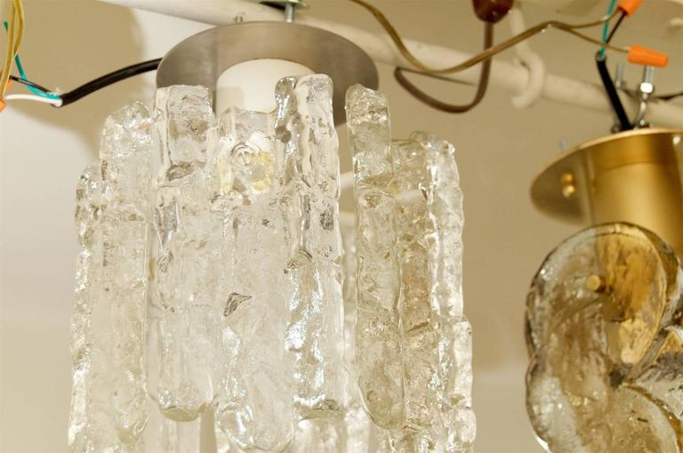 Metal Petite Kalmar Ice Glass Flush Mounted Pendant For Sale