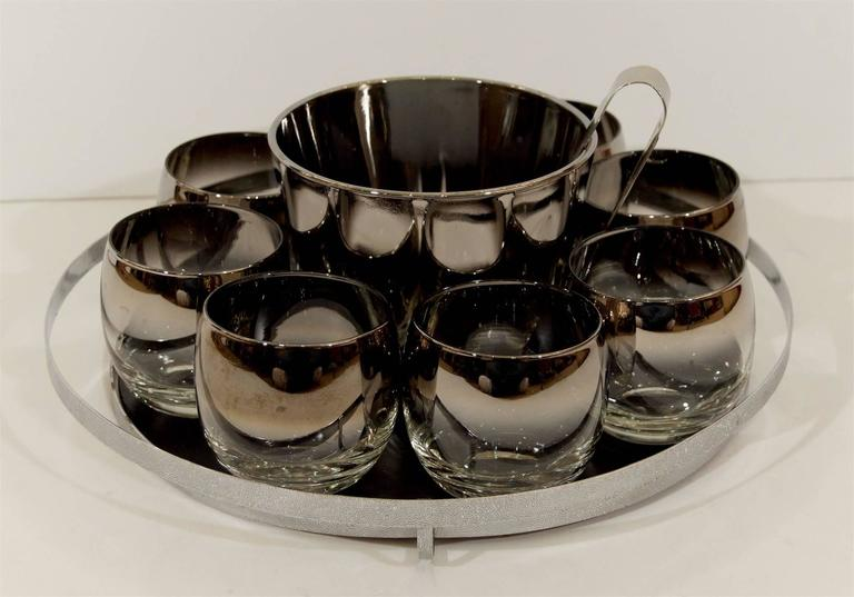 Mid-Century Modern Queens Lusterware Rock Glass and Ice Bucket Set For Sale