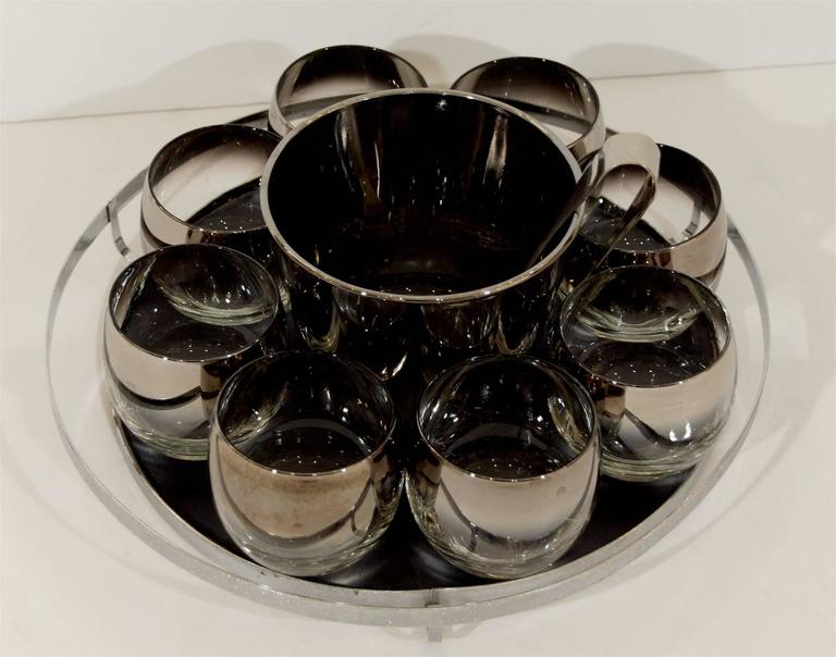 American Queens Lusterware Rock Glass and Ice Bucket Set For Sale