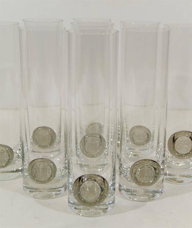 """Rosenthal """"Shou"""" Medallion Crystal Beer Glasses 4"""