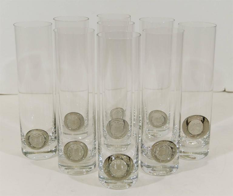 Set of nine large Rosenthal crystal beer glasses, hold approximately 20 ounces.