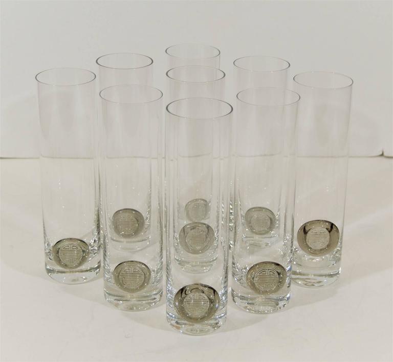"""Rosenthal """"Shou"""" Medallion Crystal Beer Glasses 3"""