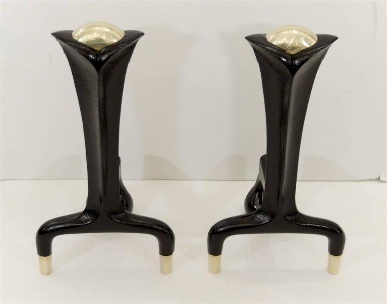 Iron and Brass Andirons by Donald Deskey 4