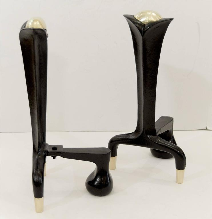 Iron and Brass Andirons by Donald Deskey In Excellent Condition For Sale In New York, NY