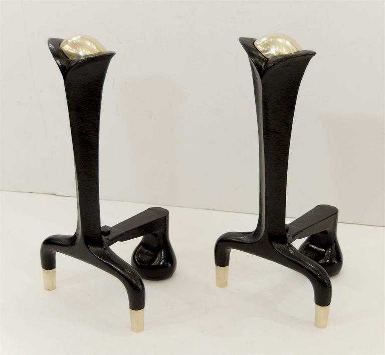 Enameled Iron and Brass Andirons by Donald Deskey For Sale
