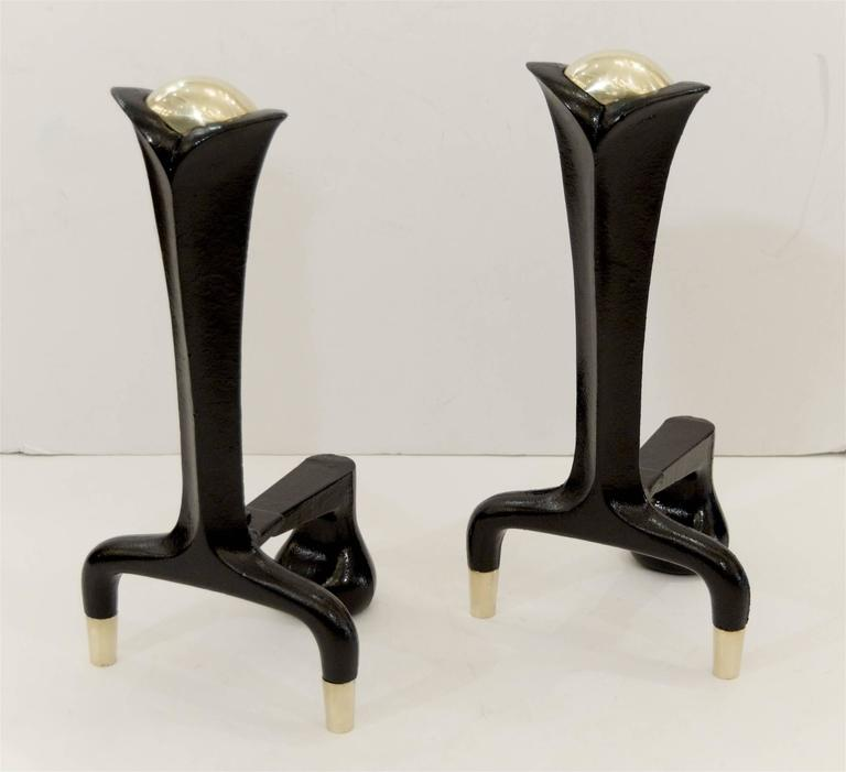 Mid-Century Modern Iron and Brass Andirons by Donald Deskey For Sale