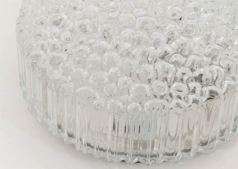 Enameled Limburg Ribbed Round Bubble Glass Flush Mount For Sale