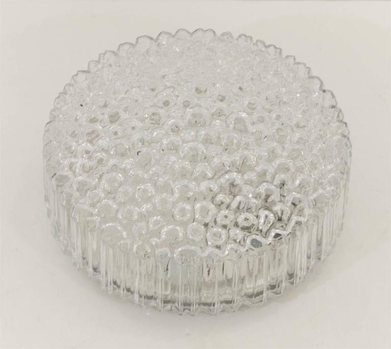 Mid-Century Modern Limburg Ribbed Round Bubble Glass Flush Mount For Sale