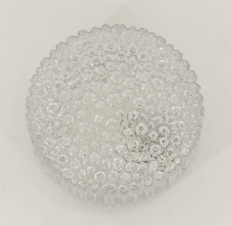 German Limburg Ribbed Round Bubble Glass Flush Mount For Sale