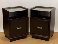 Pair of Lacquered Berkey & Gay Nightstands with Silver Leafed Glass & Pulls