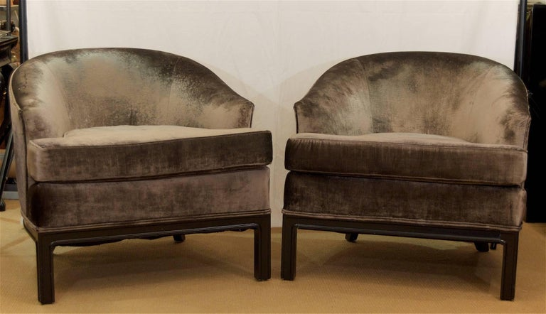 Pair of Velvet Upholstered Mid-Century Modern Club Chairs 2