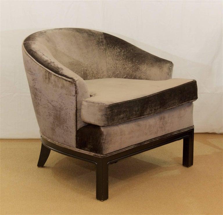 Pair of Velvet Upholstered Mid-Century Modern Club Chairs 4