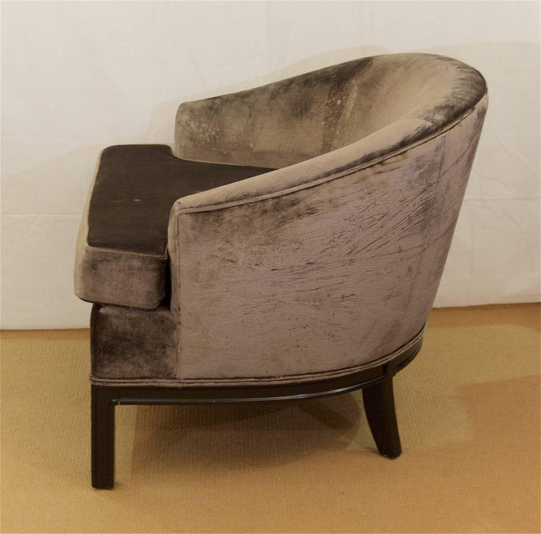 Pair of Velvet Upholstered Mid-Century Modern Club Chairs 5