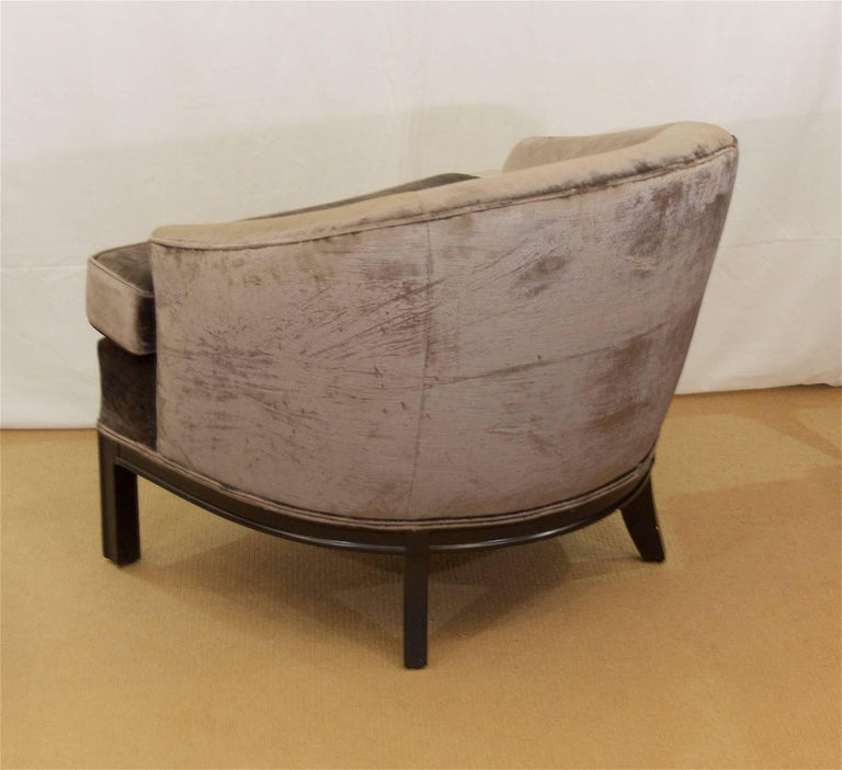 Pair of Velvet Upholstered Mid-Century Modern Club Chairs 6