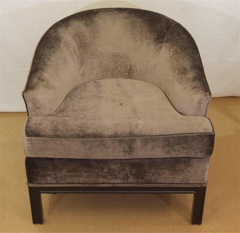 Pair of Velvet Upholstered Mid-Century Modern Club Chairs 3