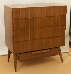 Walnut Chest of Drawers with Brass Inlay
